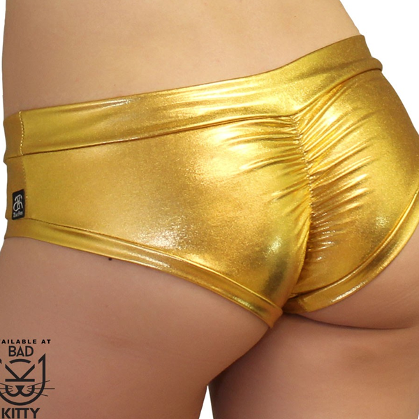 metallic-bad-kitty-brazil-booty-shorts-gold